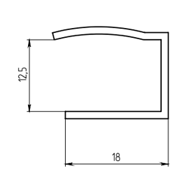 Направляющая рольшторы 12,5 мм